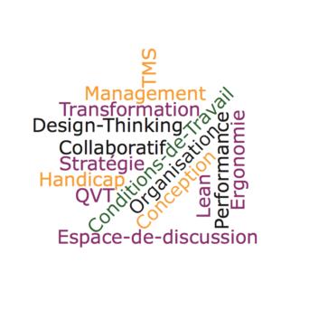 Nuage de mots : TMS Management Transformation Design-Thinking Collaboratif Stratégie Handicap QVT Conditions de Travail Organisation Conception Lean Performance Ergonomie Espace de discussion