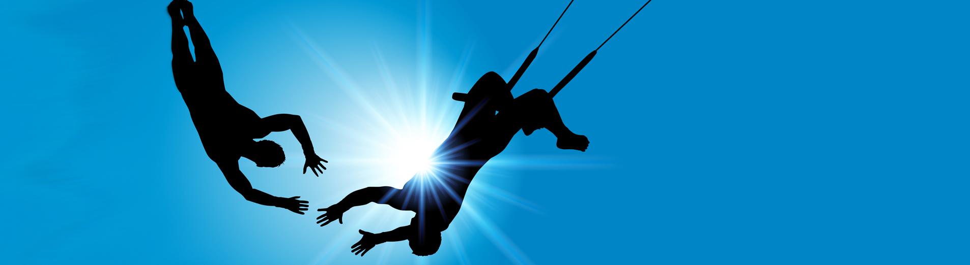 illustration d'acrobates au soleil pour la performance individuelle et collective