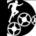 une silhouette d'homme qui court sur des écrous pour illustrer un processus de coaching, d'évolution personnelle sur un chemin d'amélioration
